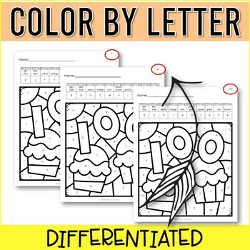 100th Day Color by Letters and Numbers for Kindergarten