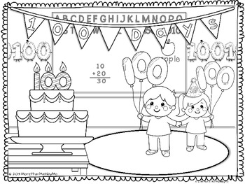 100th day coloring pages 100th Day Coloring Activities FREEBIE by More than Math by Mo | TpT 100th day coloring pages