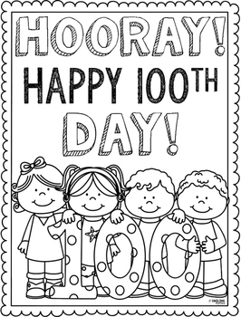 100th Day Coloring Page