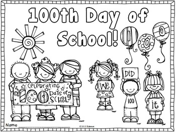 100Th Day Of School Coloring Pages 100Th Day Coloring Page~ Freebiecreative Lesson Cafe  Tpt