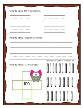 100th Day Common Core Owls