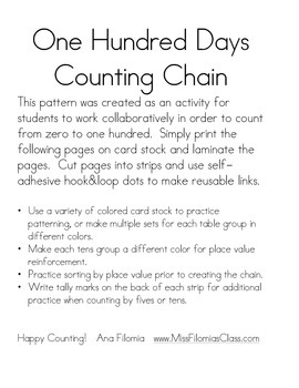 100th Day Counting Chain
