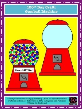 100th Day Craft, Writing, and Math Pack: 100 Years Old,Gumball Machine,Kids,Hat