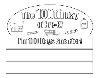 100th Day Crown - Coloring Page - For Pre-K Students - 100th Day of School