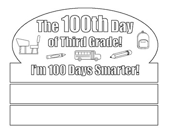 100th Day Crown - Coloring Page - For Third Grade Students - 100th Day of School