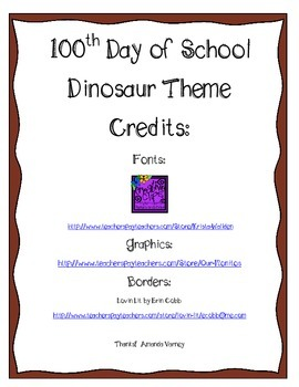 100th Day Common Core Dinosaurs