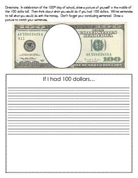 100th Day Dollar Bill Writing