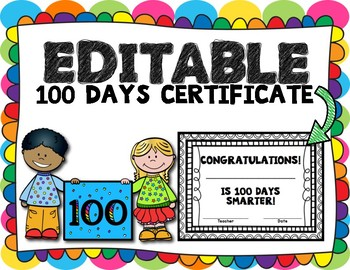 100th Day Editable Certificate