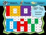 100th Day Expanded Notation - Watch, Think, Color Mystery