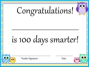 100th Day FREEBIE - Writing, drawing and certificate