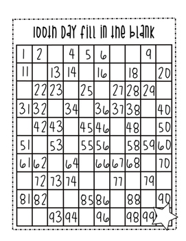 100th Day Fill in the Blank Hundred's Chart
