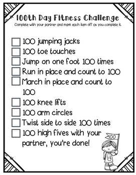 100th Day Fitness Challenge {freebie}