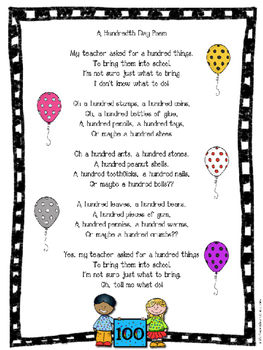 100th Day Freebie: Poster, Poem, and Badges