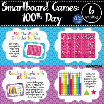 100th Day Games for the Smartboard or Promethean Board  - Set of Six Activities!