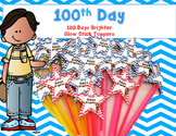 100th Day -Glow Stick Treats Toppers