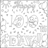 100th Day Greeting Connect the Dots and Coloring Page, CU