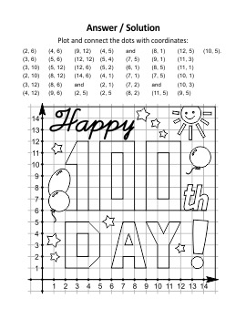 100th Day Greeting Coordinate Graphing and Coloring Page, CU and Non-CU