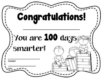 100th Day Headband to color and certificates - Boy or Girl Theme