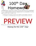 100th Day Homework Letter