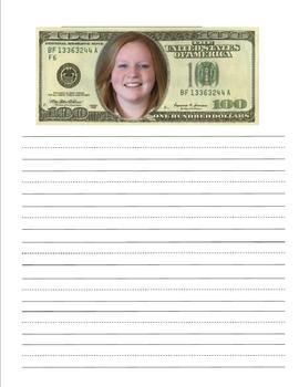 100th Day Hundred Dollar Writing Activity