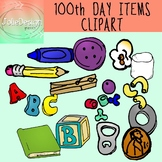 100th Day Items Clipart - Color and Black and White - 27 pc set