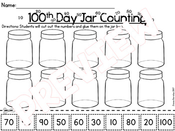 100th Day Jars - Counting by 10's