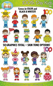 100th Day Kid Characters Clipart Set — Includes 50 Graphics!