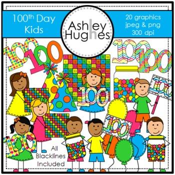 100th Day Kids Clipart {A Hughes Design}