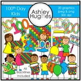 100th Day Kids Clipart {A Hughes Design}