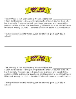 100th Day Letter to Parents/Guardians