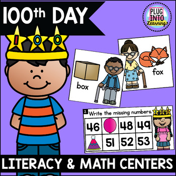 100th Day Literacy and Math Centers