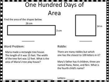 100th Day Math Activity Review Packet 4th Grade