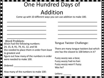 100th Day Math Activity Review Packet 3rd Grade