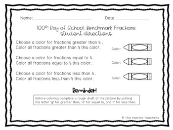 100th Day Math - Fraction Coloring