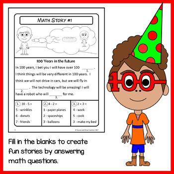 100th Day Math Puzzles - 1st Grade Common Core