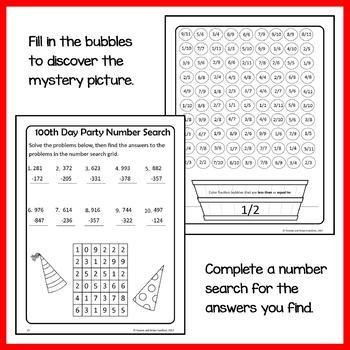100th Day of School Math Puzzles - 3rd Grade Common Core