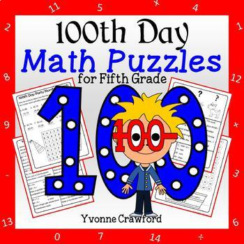 100th Day Math Puzzles - 5th Grade Common Core