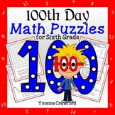 100th Day of School Math Puzzles - 6th Grade Common Core