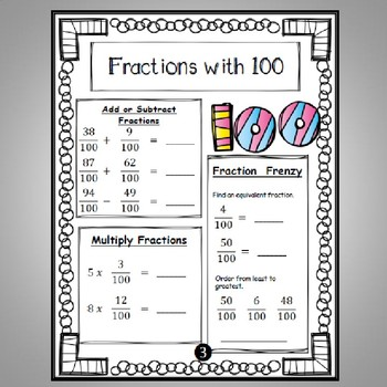 100th Day Math Task Cards & *No Prep* Worksheets 4th Grade Common Core Aligned