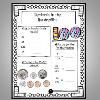 "4th Grade Math Worksheets & Task Cards ""All About 100"""