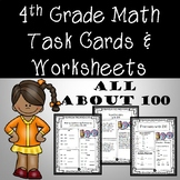 100th Day Math Task Cards & *No Prep* Worksheets 4th Grade