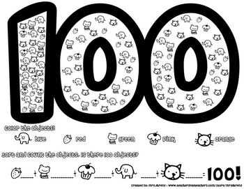 100th Day Math Worksheet by MrsAhrens