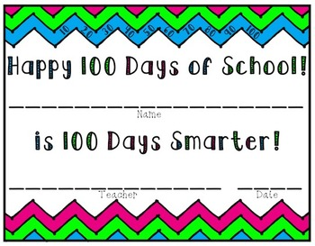 100th Day Math and Literacy Pack