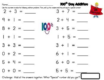 100th Day Math...Addition Problems That The Answers Add Up to 100!!