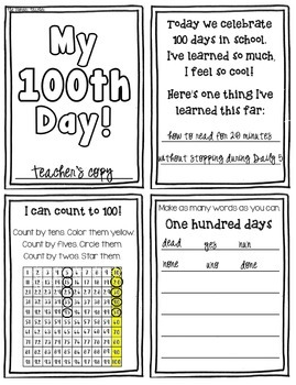 100th Day Mini Booklet