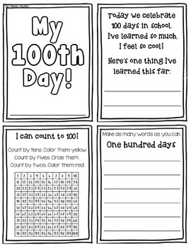 100th Day Mini Booklet