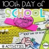 100th Day Kindergarten First Grade Math Writing Science Activities