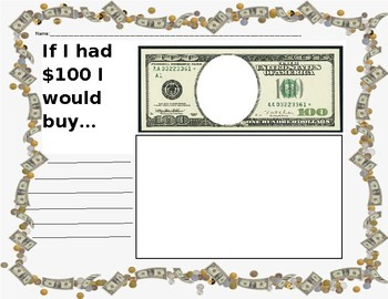 100th Day Money Writing Page