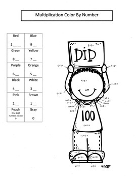 100th Day Math Multiplication Color By Numbers