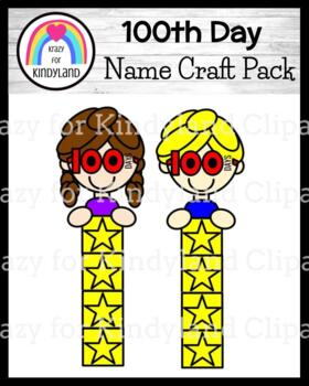 100th Day Name Craft for Kindergarten (100 Days of School, February)